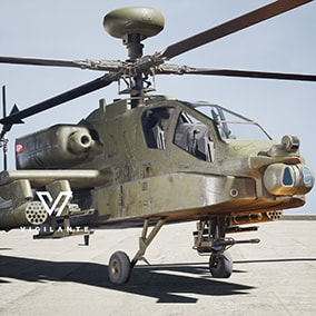 The Vigilante AH-64D Apache Longbow comes with Desert and Forest textures, is fully rigged, has animated wheels, rotor, M230 30mm Automatic Cannon, and Hydra Rocket Launcher.  This vehicle is DIS/HLA (RPR FOM) Integration ready. Designed for simulations.