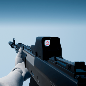 High quality Assault Rifle with 4K textures, fully animated / rigged arms using Epic Skeleton.
