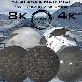 5 Super Realistic Alaska Materials for all platforms. All Textures have their own 8K,4K,2K and 1K version and ready for every kind of project.