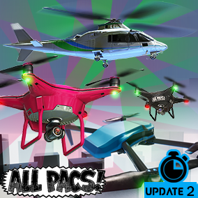 This pack provides a set of customizable drones based on popular consumer models, with arcade-style controls that include animations, multiple camera perspectives, multiplayer and VR support, an object pickup system, and time attack mini-game.
