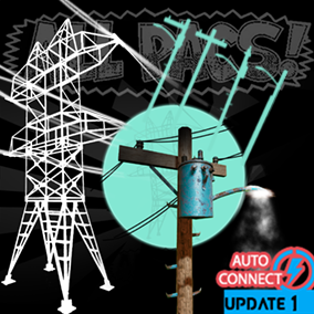 A spline-based electrical power lines pylon system with street lamps (lamposts), wall mounts, and cables wires that auto connect. (utility poles) ALLPACS