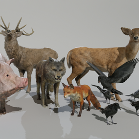 Nice Assortment of 5 animals to populate your projects.