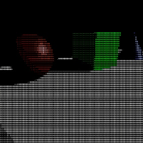 A Post Process Material who transform the 3D world in a ASCII art. Easy to set and adjust