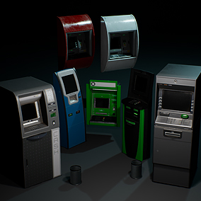A collection of cash machines props