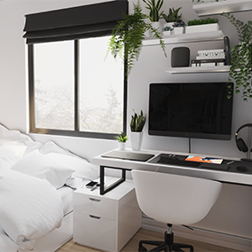 Male bedroom scene for architectural visualization.