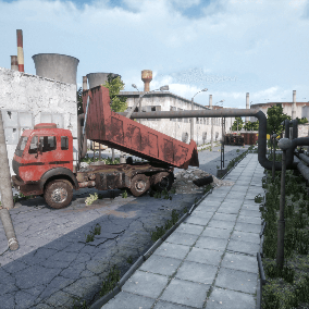 Industrial environment with modular buldings, roads, sidewalks in an abandoned (post apocalyptic) style