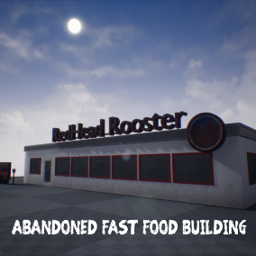 A collection of props for an abandoned fast food building.