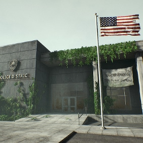 An abandoned modern police department environment