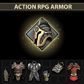 A set of 101 full-size hand drawn Action RPG Armor.