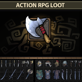 A set of 124 full-size hand drawn Action RPG Loot items.