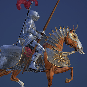 Low polygonal game ready animated model of Medieval Knight Horseman. Character is perfect for a first person or 3rd person adventure game. May fight as warrior, adventure, horseman warrior...