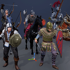 Low polygonal game ready animated male characters with 4 armor sets and animated horse with 2 armor sets.