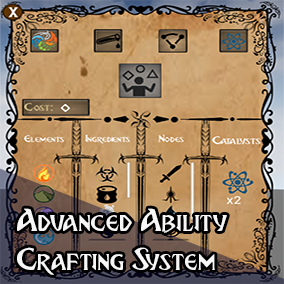 An advanced ability crafting system where you can add as much elements and ingredients as you want to make thousands of abilities, and add nodes to them to improve their stats such as damage, cooldown, mana cost etc.