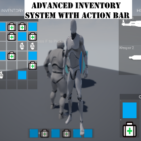 Advanced Drag & Drop Inventory system with Action bar, Weapon Slots, Grenade Slot, Quick Access Slots, Backpacks, Vicinity System and Character Preview.