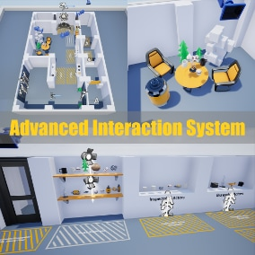 Advanced Interaction System contains graspable, destructible, inspectable and draggable objects with pickup, release, throw, rotate, move, drag controls and physics simulation.