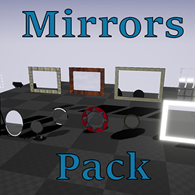 Advanced mirrors in different shapes and materials, with many parameters which can help adjust mirror (color, metallic, smugdes, etc). Real time reflection and capture on movement provided. Perfect for architectural Visualiztion and games.