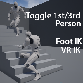A Character Blueprint to handle view switching between 1st and 3rd person with feet IK and Aim Offset.  Also including VR IK, multiplayer support and crouching foot IK.