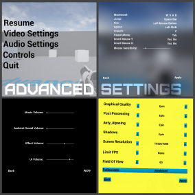 Advanced Settings is a set of settings consisting of four animated themes, each including three types of settings - graphic, sound and control settings, as well as the main menu.