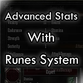 Ever wanted to create a game with advanced stats? Wanted to deliver stats in a different why but being able to also deliver them to the player the old classic way? In this system the stats are dynamic and you can use runes to deliver them to the player.