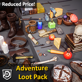 78 high quality assets, ideal for a Medieval/Fantasy setting. Containing basic weapons like a sword, axe and dagger; Food like bread, cheese, apple, mushrooms and vegetables; Jewelry like coins, chains and rings; a skull, bones, books, candles etc