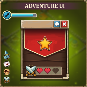Adventure UI art pack. This set includes: buttons, icons, framework, checkbox, etc.