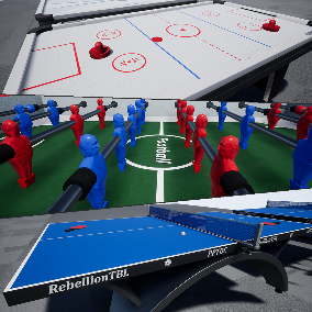Contains High Quality Air Hockey, Soccer & Table Tennis Assets: Different types of tables and instruments for these sports. Perfect for third/first person and VR games