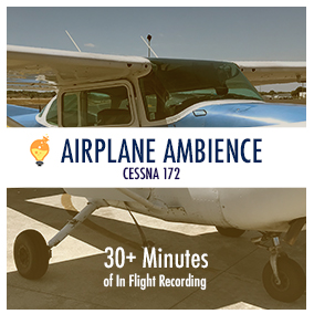 Ambient recording of a small aircraft interior during flight, landing and takeoff.