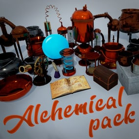 A collection of pots, chemical devices, distillation cubes and chests for the alchemy laboratory.