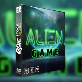 Alien Game Sound Effects library is 650 extra-terrestrial sound effects, all royalty-free, Includes big explosion sounds, alien creature voices, robot voices, futuristic weapon sounds, plasma pistol shots, blaster gun sounds, alien ships and more!