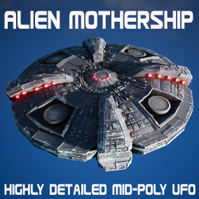 Mid Poly detailed Alien Mother-ship UF0. At just under 150K polys and a 4k PBR material, the alien mothership looks great in any back drop or close up.