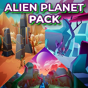 This Alien Planet pack comes with 4 Low-Poly Stylized environments!