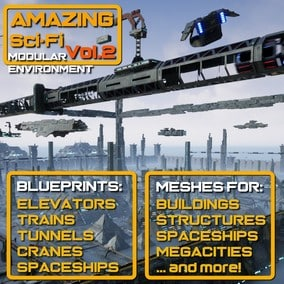 Modular Sci-Fi building blocks for buildings, structures, cities, spaceships. Operational trains, elevators, spaceships, cranes.