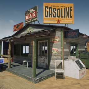 Old gas station with an authentic Southern feel.