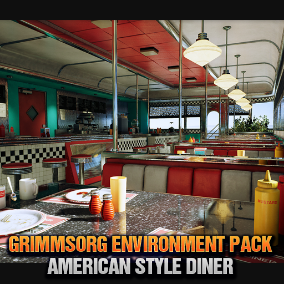 American Style Diner Interior / Exterior With Afternoon Lighting, perfect for Games / Cutscenes / Movies / VR Apps.