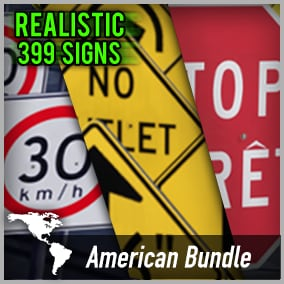 Optimized and game-ready asset pack with 399 American Road Signs. This Bundle contains all american sign packs!