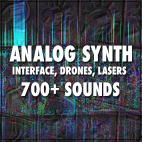 A collection of analog synthesizer sounds that replicate interface sounds, drones and laser weapons.