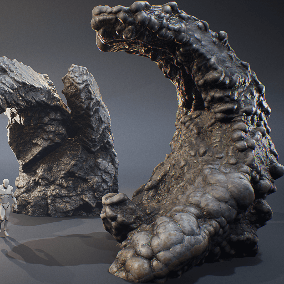 The ancient fantasy looking rocks of different shapes and sizes. Best for creating mysterious caves. Role playing game? Horror? Action? That's for you!