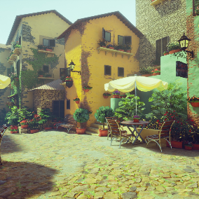This is a European-style town, consisting of a houses, plants, stone bricks, and multi-colored walls.