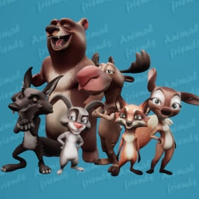6 characters. Cartoon Forest Theme.