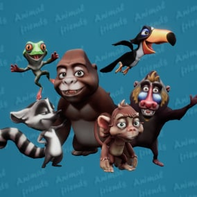 6 characters. Wild Animals Theme.