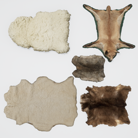 These animal skins are a stylish floor, or furniture decoration for your architectural visualizations and game environments.