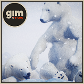 Animated male and female Polar Bear with gFur support and gFur advanced shader.