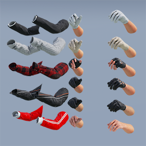 AAA quality FP Civilian Arms Pack: Rigged & animated w/3 skin tones, 5 gloves, 5 clothing types, 4K textures. 83 assets total!