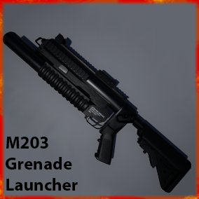 This weapon pack contains a fully functioning M203 grenade launcher with multi-range sighting, grenade ammunition, and bonus rail integration system adapters.