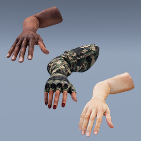 AAA quality FP Arms 4-pack: Rigged & animated w/3 skin tones, 4K textures, LODs, & 63 assets total!