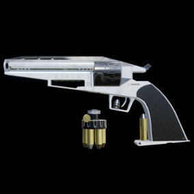 High Quality .50 Caliber Futuristic Revolver with VFX, bullets, and a speedloader. PBR textures up to 4K