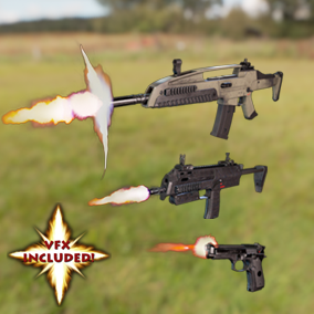 AAA SMG, Pistol, and AR pack. With VFX, 4K textures, 3 LODs & fully animated/rigged arms. Save 40%!