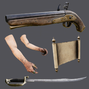 Animated Pirate Pack including a Flintlock Pistol, Pirate Sword, and Scroll Map w/ 4K textures, 3 LODs, & fully animated / rigged arms with ringed fingers. 62 assets total!