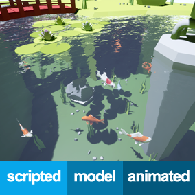 Use the fishes of this asset to simulate a pond in your video game. These fishes are made with a cartoon style but if you have your own fish model rigged and animated, you can use it too.