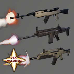 AAA XM8, SCAR, SKS ARs with VFX, 4K textures, 3 LODs & fully animated/rigged arms. Save 40%!